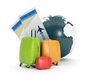 3d illustration: Land and a group of suitcases. To take a vacation rental